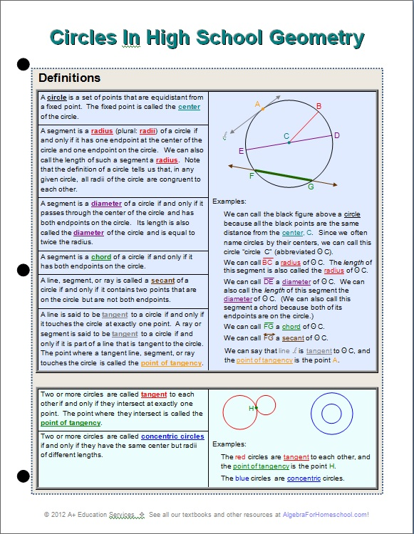 Circles in High School Geometry